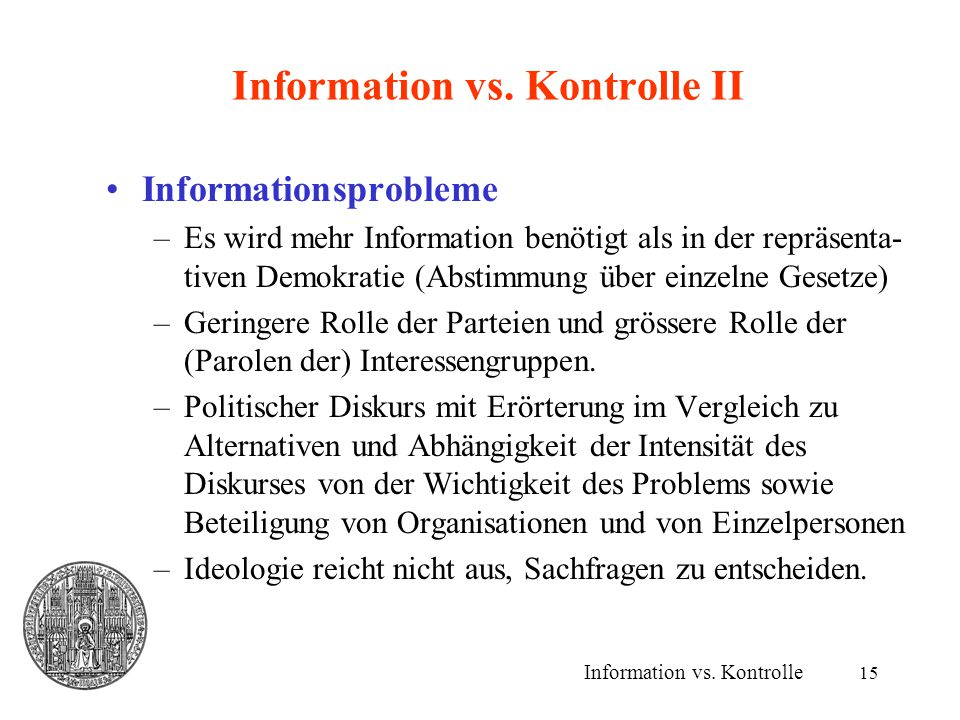 Information vs. Kontrolle II