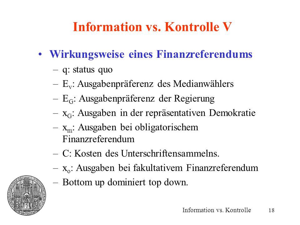 Information vs. Kontrolle V