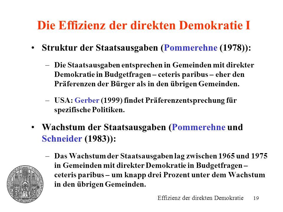 Die Effizienz der direkten Demokratie I