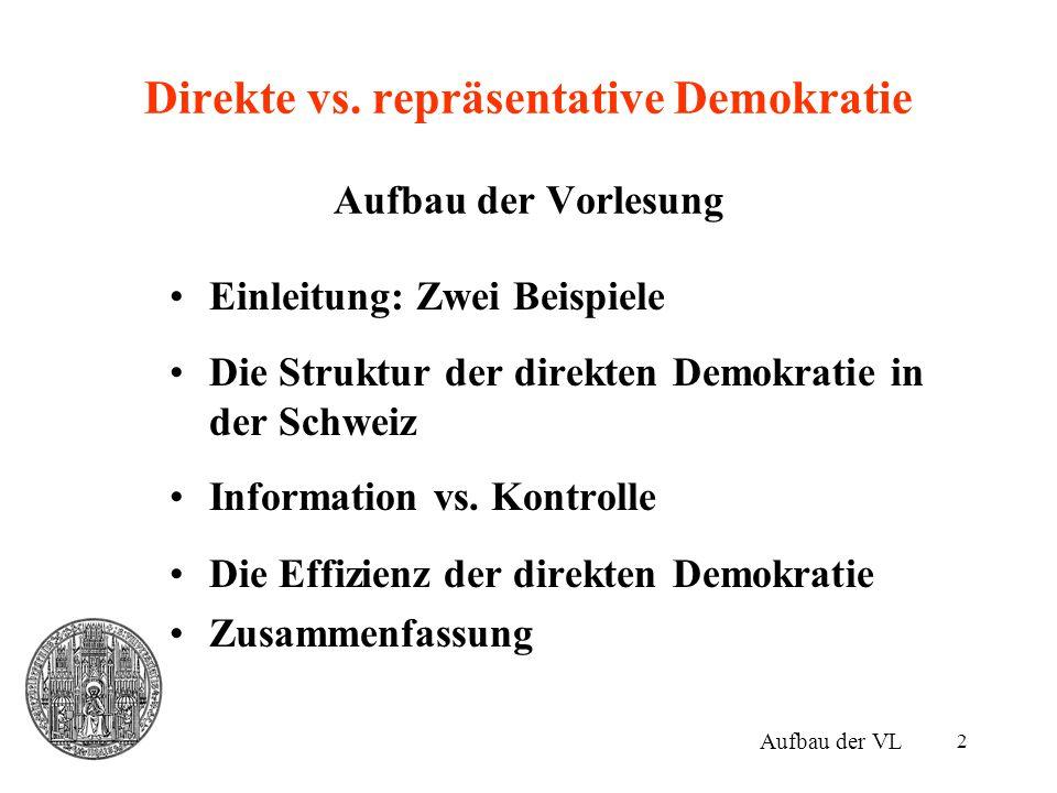 Direkte vs. repräsentative Demokratie Aufbau der Vorlesung