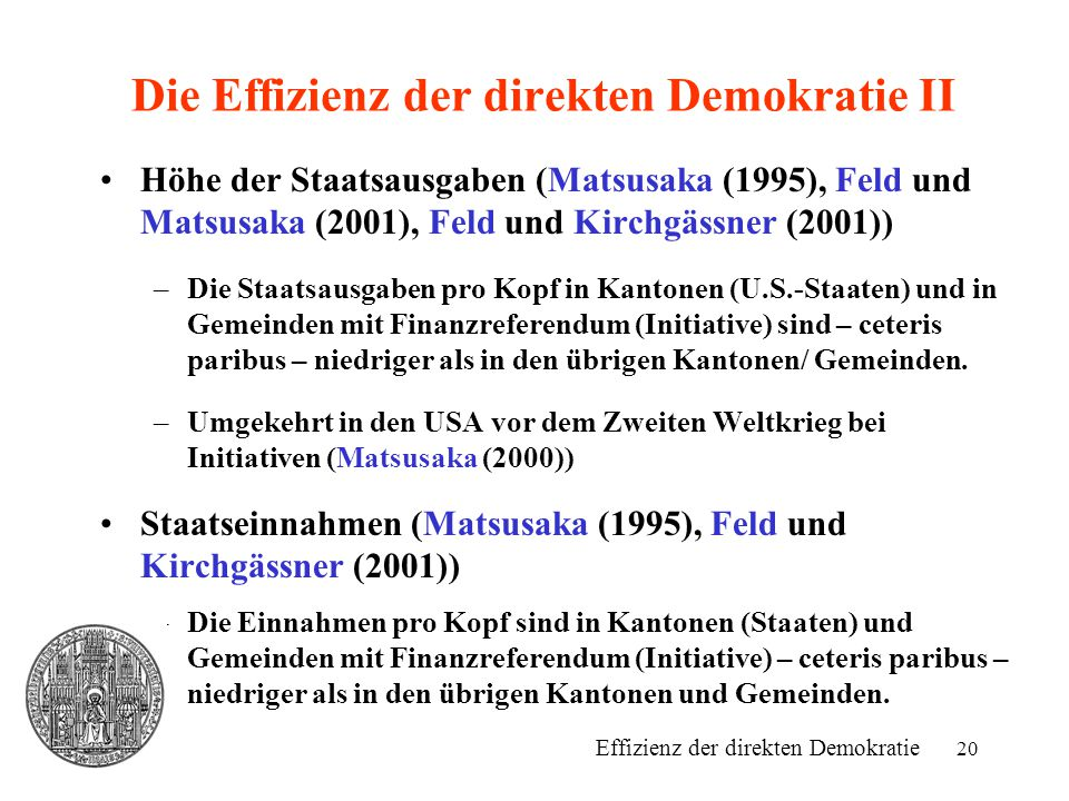 Die Effizienz der direkten Demokratie II