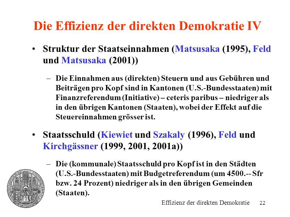 Die Effizienz der direkten Demokratie IV