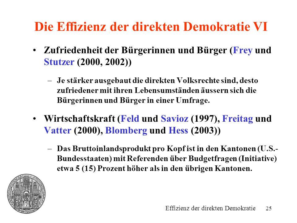 Die Effizienz der direkten Demokratie VI