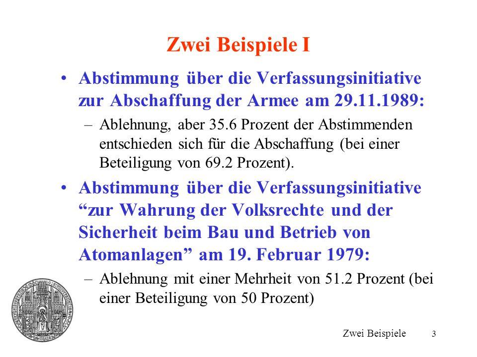 Zwei Beispiele I Abstimmung über die Verfassungsinitiative zur Abschaffung der Armee am 29.11.1989: