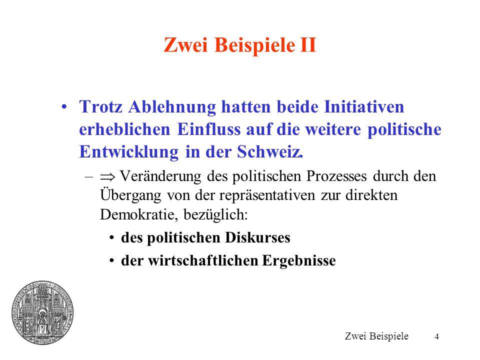 Zwei Beispiele II Trotz Ablehnung hatten beide Initiativen erheblichen Einfluss auf die weitere politische Entwicklung in der Schweiz.