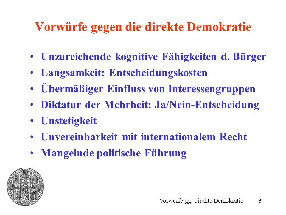 Vorwürfe gegen die direkte Demokratie