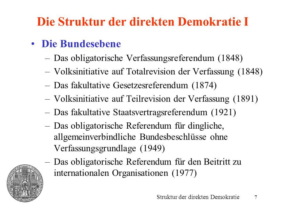 Die Struktur der direkten Demokratie I
