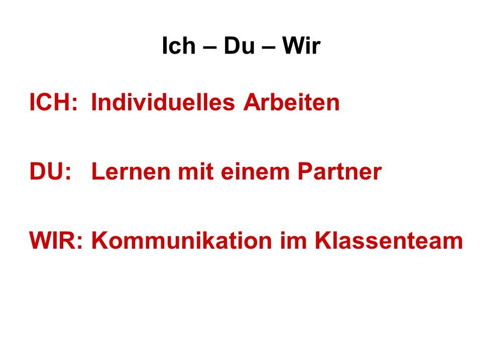 Ich – Du – Wir ICH: Individuelles Arbeiten. DU: Lernen mit einem Partner.