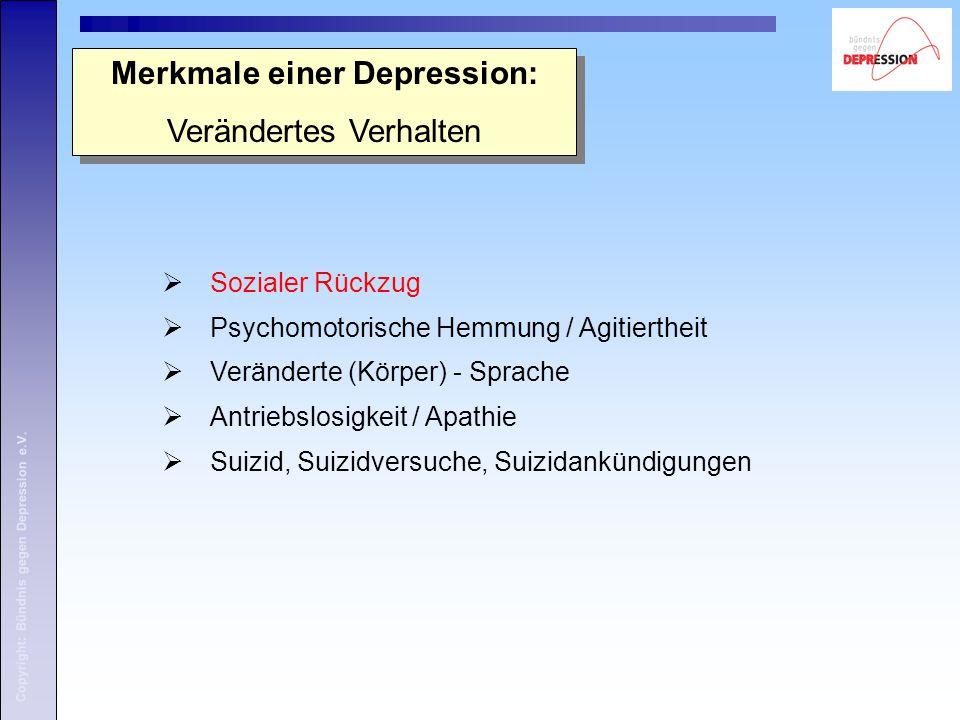 Merkmale einer Depression: