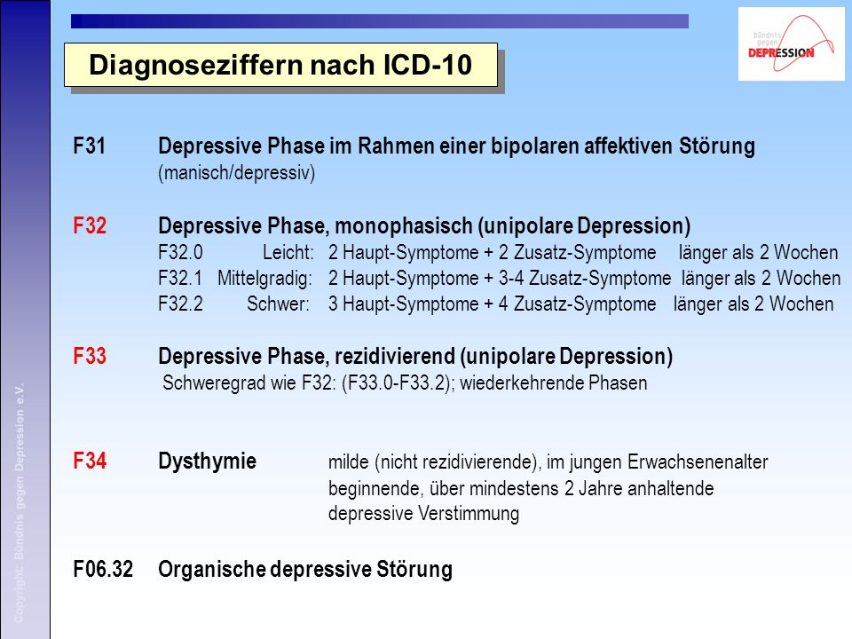 Diagnoseziffern nach ICD-10