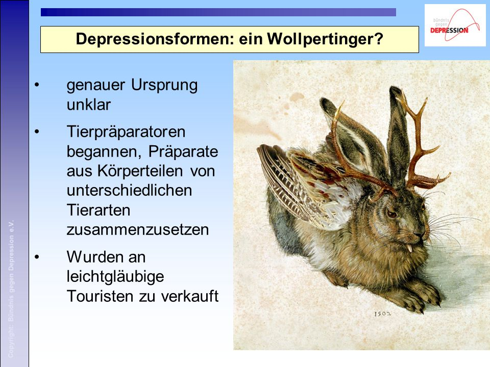 Depressionsformen: ein Wollpertinger