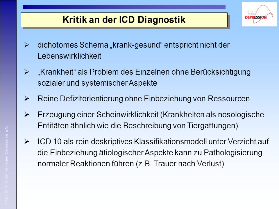 Kritik an der ICD Diagnostik