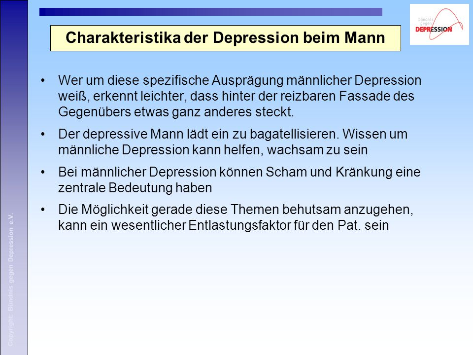Charakteristika der Depression beim Mann