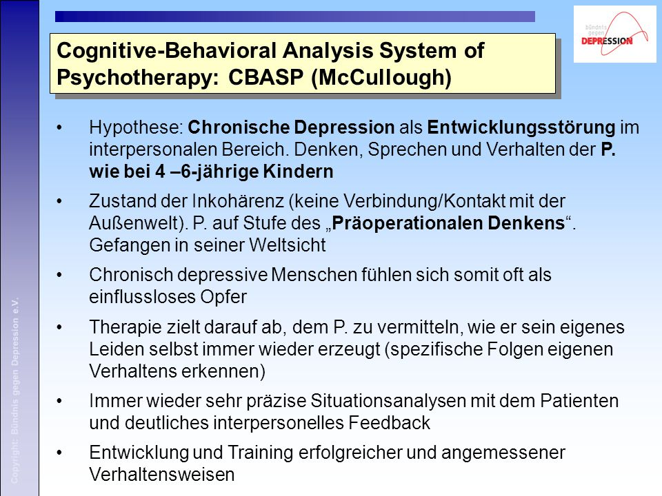 Cognitive-Behavioral Analysis System of Psychotherapy: CBASP (McCullough)