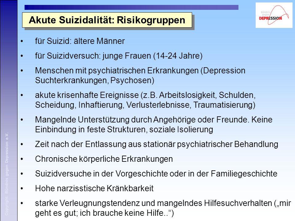 Akute Suizidalität: Risikogruppen