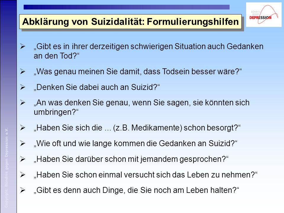 Abklärung von Suizidalität: Formulierungshilfen