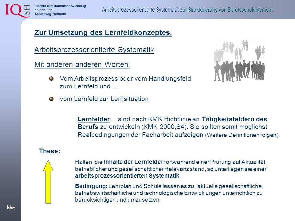 Zur Umsetzung des Lernfeldkonzeptes.