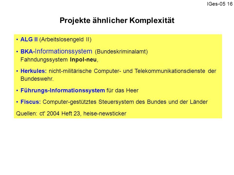 Projekte ähnlicher Komplexität