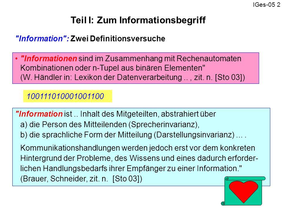 Teil I: Zum Informationsbegriff