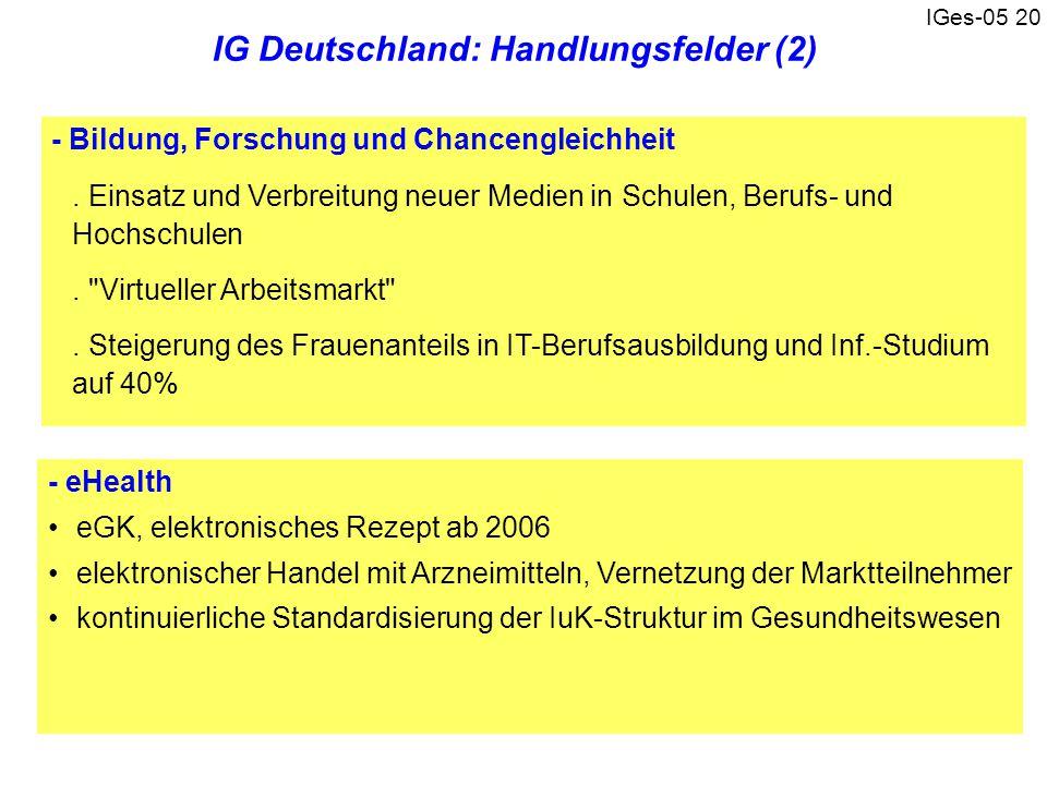 IG Deutschland: Handlungsfelder (2)