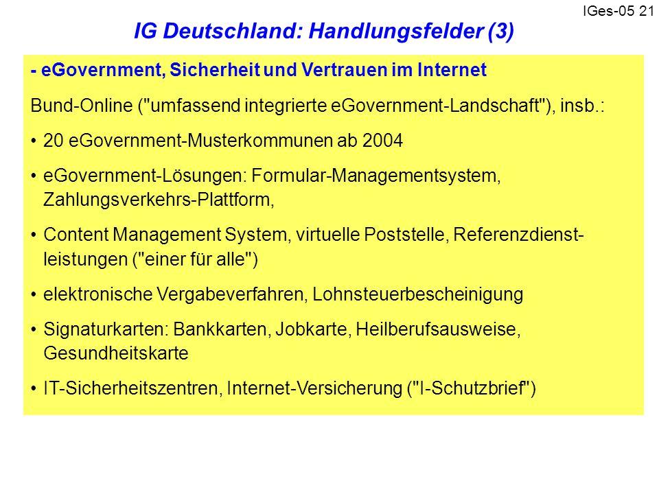 IG Deutschland: Handlungsfelder (3)
