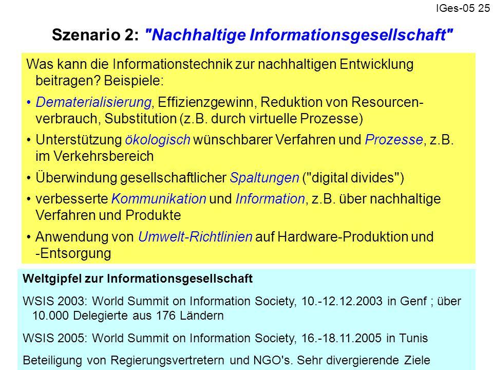 Szenario 2: Nachhaltige Informationsgesellschaft