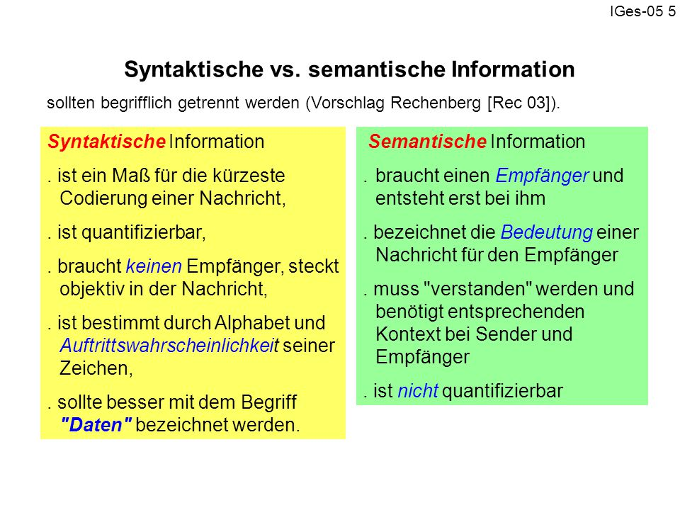 Syntaktische vs. semantische Information