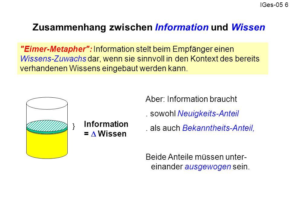 Zusammenhang zwischen Information und Wissen