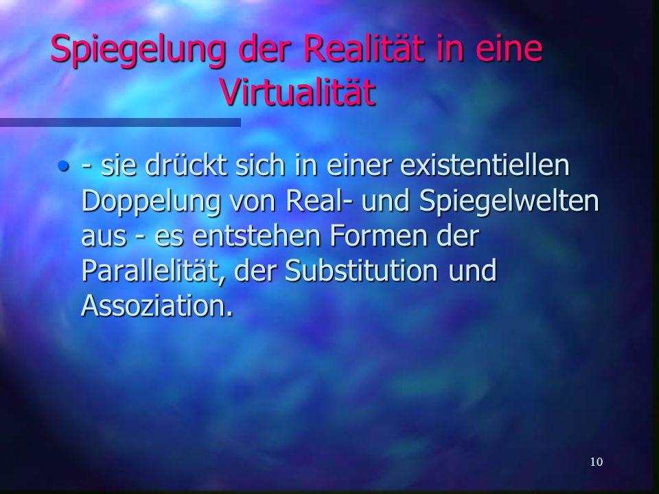 Spiegelung der Realität in eine Virtualität
