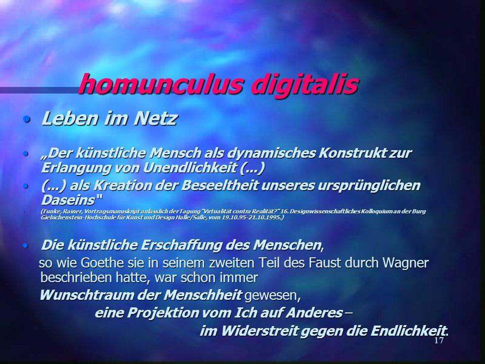 homunculus digitalis Leben im Netz