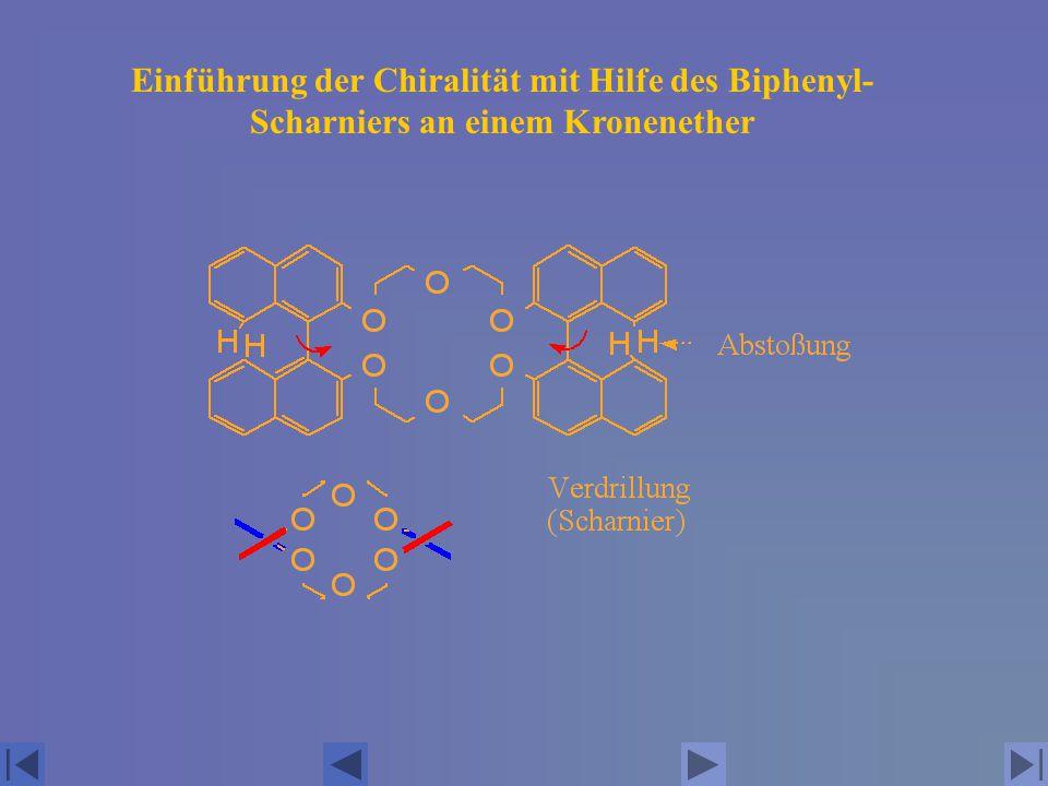Einführung der Chiralität mit Hilfe des Biphenyl-Scharniers an einem Kronenether