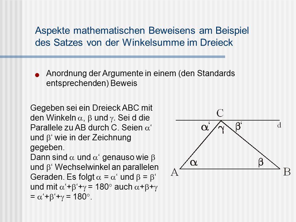 Aspekte mathematischen Beweisens am Beispiel des Satzes von der Winkelsumme im Dreieck