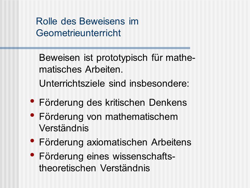 Rolle des Beweisens im Geometrieunterricht