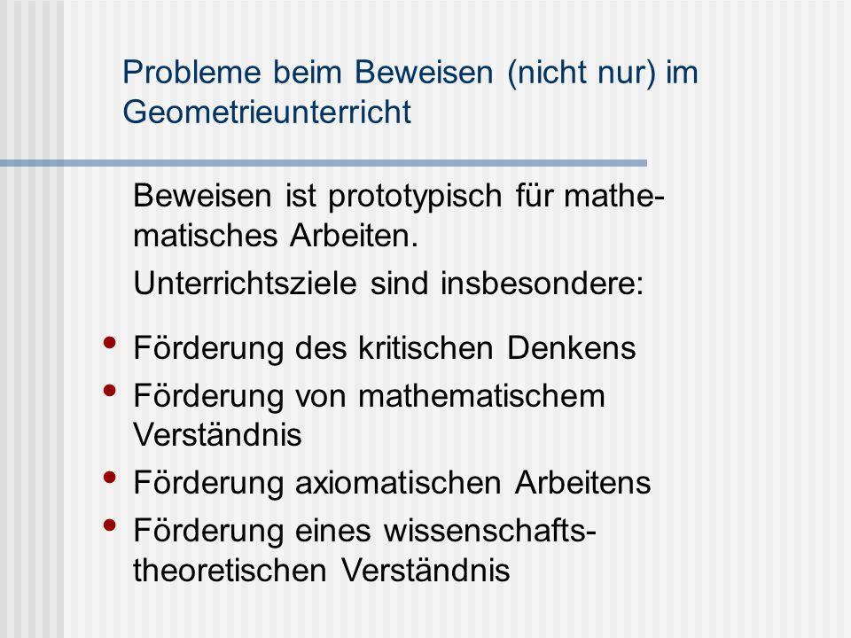 Probleme beim Beweisen (nicht nur) im Geometrieunterricht