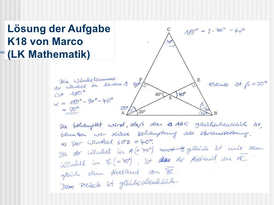 Lösung der Aufgabe K18 von Marco (LK Mathematik)