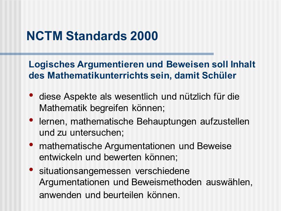 NCTM Standards 2000 Logisches Argumentieren und Beweisen soll Inhalt des Mathematikunterrichts sein, damit Schüler.