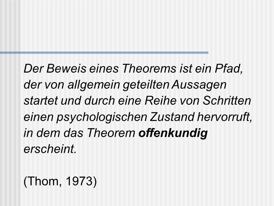 Der Beweis eines Theorems ist ein Pfad, der von allgemein geteilten Aussagen startet und durch eine Reihe von Schritten einen psychologischen Zustand hervorruft, in dem das Theorem offenkundig erscheint.