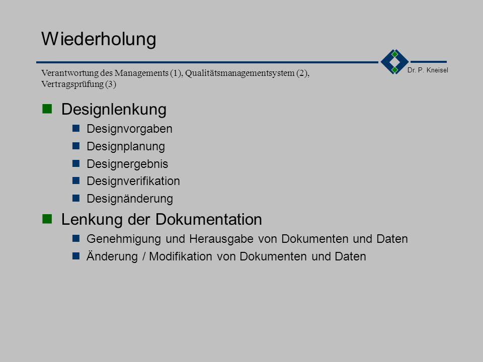 Wiederholung Designlenkung Lenkung der Dokumentation Designvorgaben