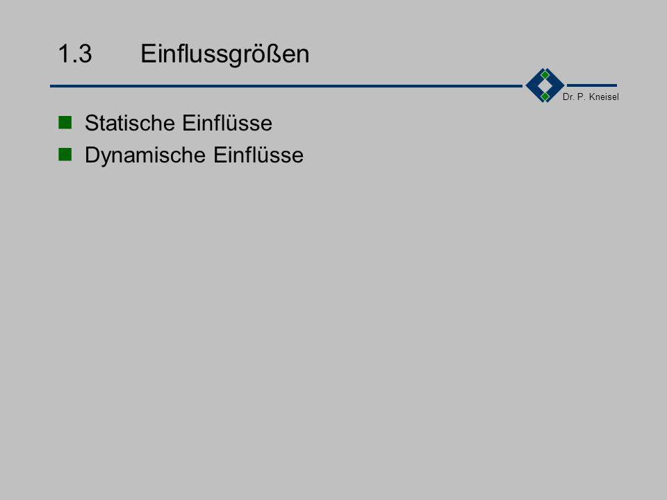 1.3 Einflussgrößen Statische Einflüsse Dynamische Einflüsse
