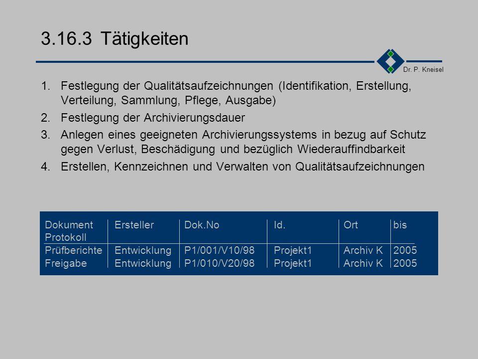 3.16.3 Tätigkeiten 1. Festlegung der Qualitätsaufzeichnungen (Identifikation, Erstellung, Verteilung, Sammlung, Pflege, Ausgabe)