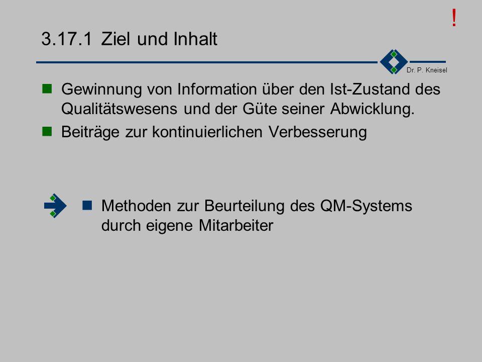 ! 3.17.1 Ziel und Inhalt. Gewinnung von Information über den Ist-Zustand des Qualitätswesens und der Güte seiner Abwicklung.