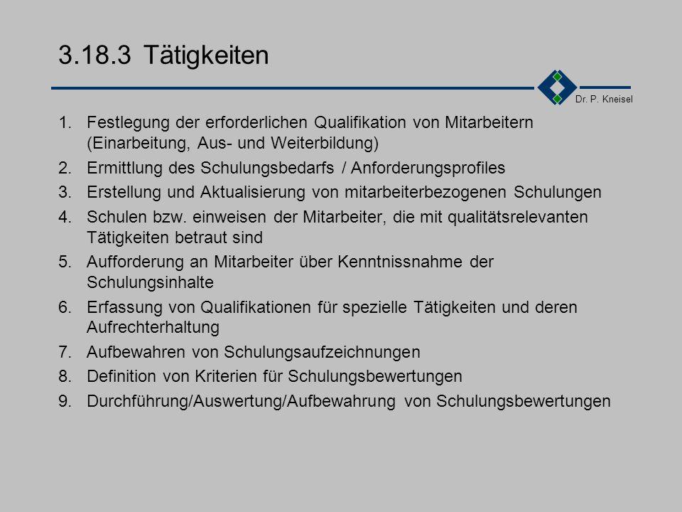 3.18.3 Tätigkeiten 1. Festlegung der erforderlichen Qualifikation von Mitarbeitern (Einarbeitung, Aus- und Weiterbildung)