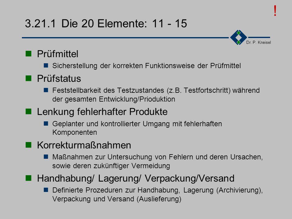 ! 3.21.1 Die 20 Elemente: 11 - 15 Prüfmittel Prüfstatus