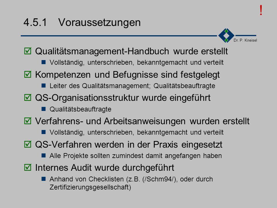 ! 4.5.1 Voraussetzungen Qualitätsmanagement-Handbuch wurde erstellt