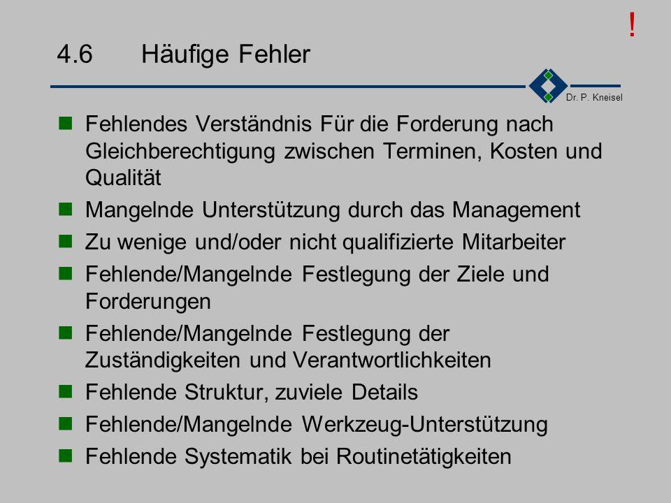 ! 4.6 Häufige Fehler. Fehlendes Verständnis Für die Forderung nach Gleichberechtigung zwischen Terminen, Kosten und Qualität.