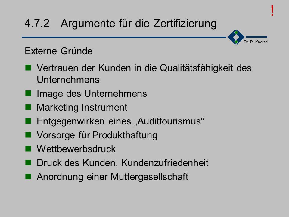4.7.2 Argumente für die Zertifizierung