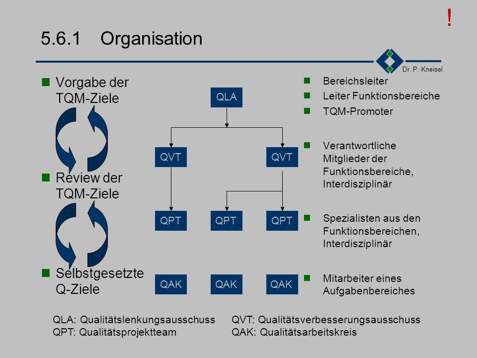 ! 5.6.1 Organisation Vorgabe der TQM-Ziele Review der TQM-Ziele