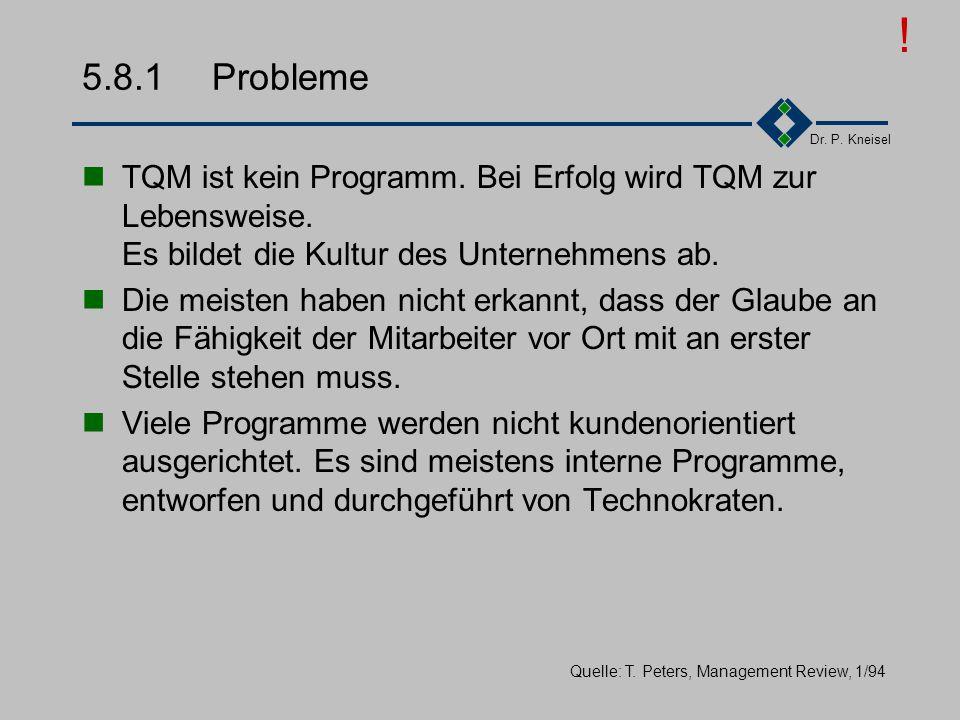 ! 5.8.1 Probleme. TQM ist kein Programm. Bei Erfolg wird TQM zur Lebensweise. Es bildet die Kultur des Unternehmens ab.
