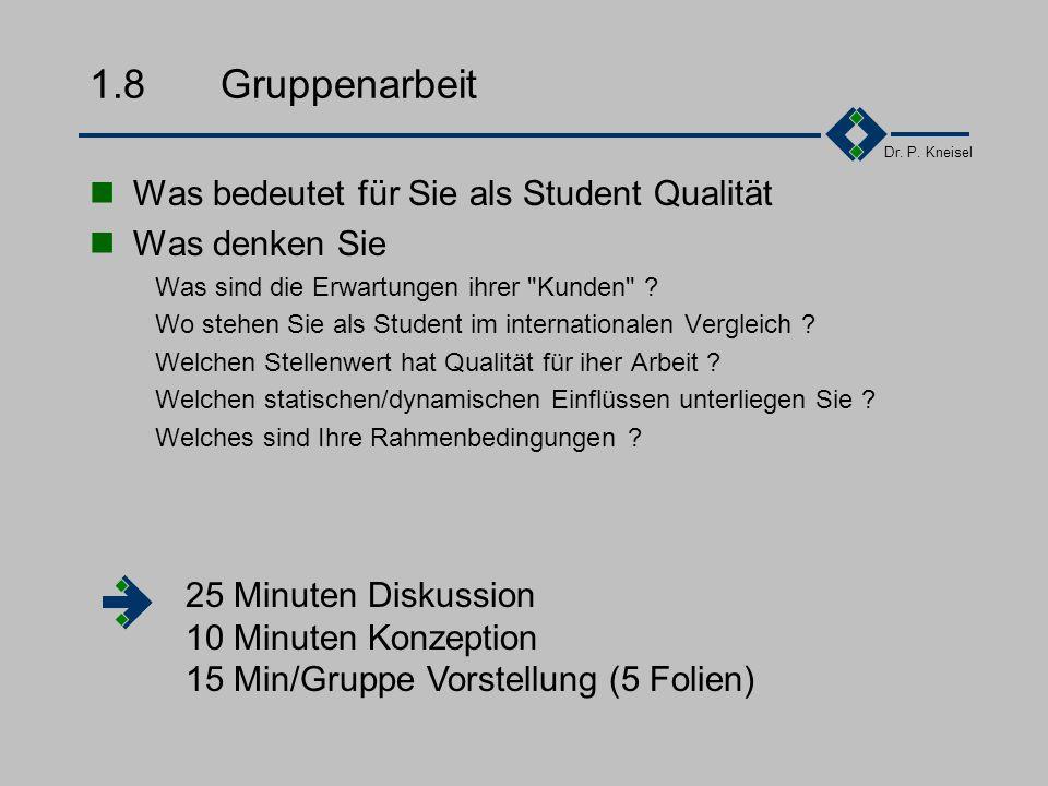 1.8 Gruppenarbeit Was bedeutet für Sie als Student Qualität
