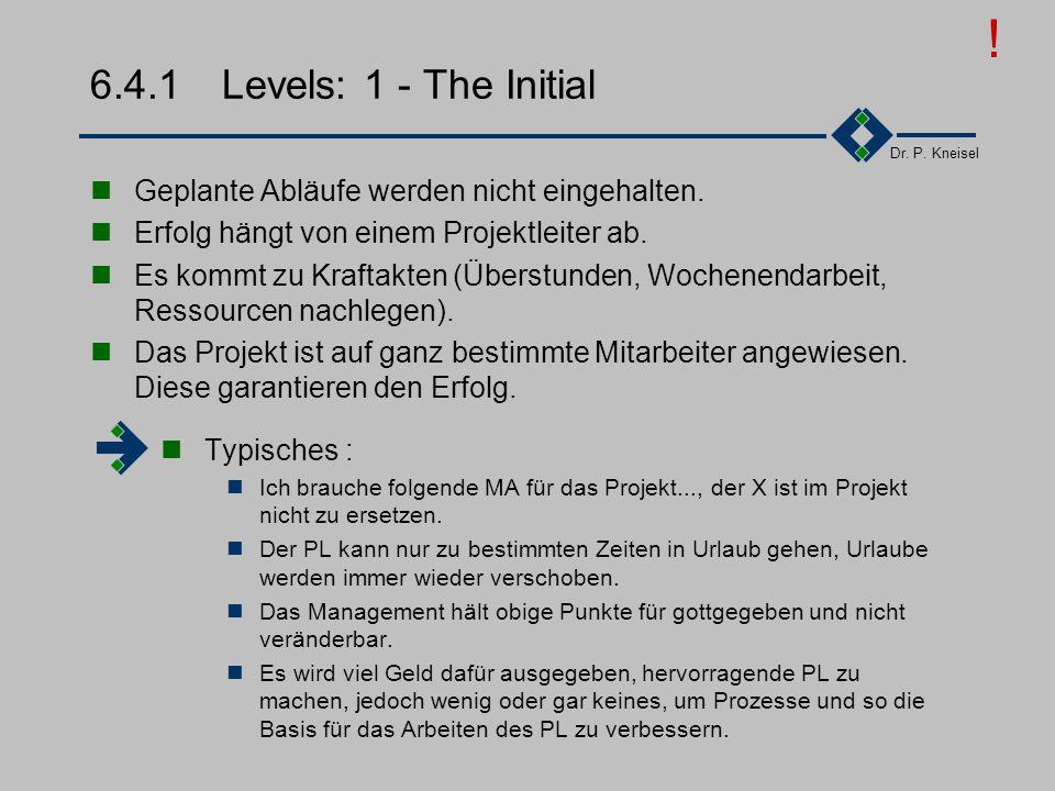 ! 6.4.1 Levels: 1 - The Initial. Geplante Abläufe werden nicht eingehalten. Erfolg hängt von einem Projektleiter ab.